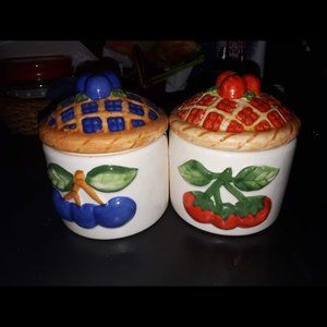 Other - blueberry and strawberry pie design sugar canister
